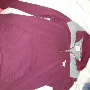 PINK maroon quarter zip sweatshirt